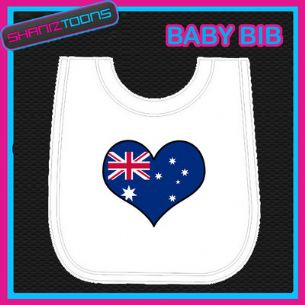 AUSTRALIA HEART SHAPED FLAG WHITE BABY BIB PRINTED DESIGN